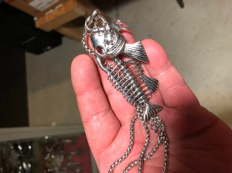 SOLID STAINLESS FISH SKELETON NECKLACE GOTH BIKER